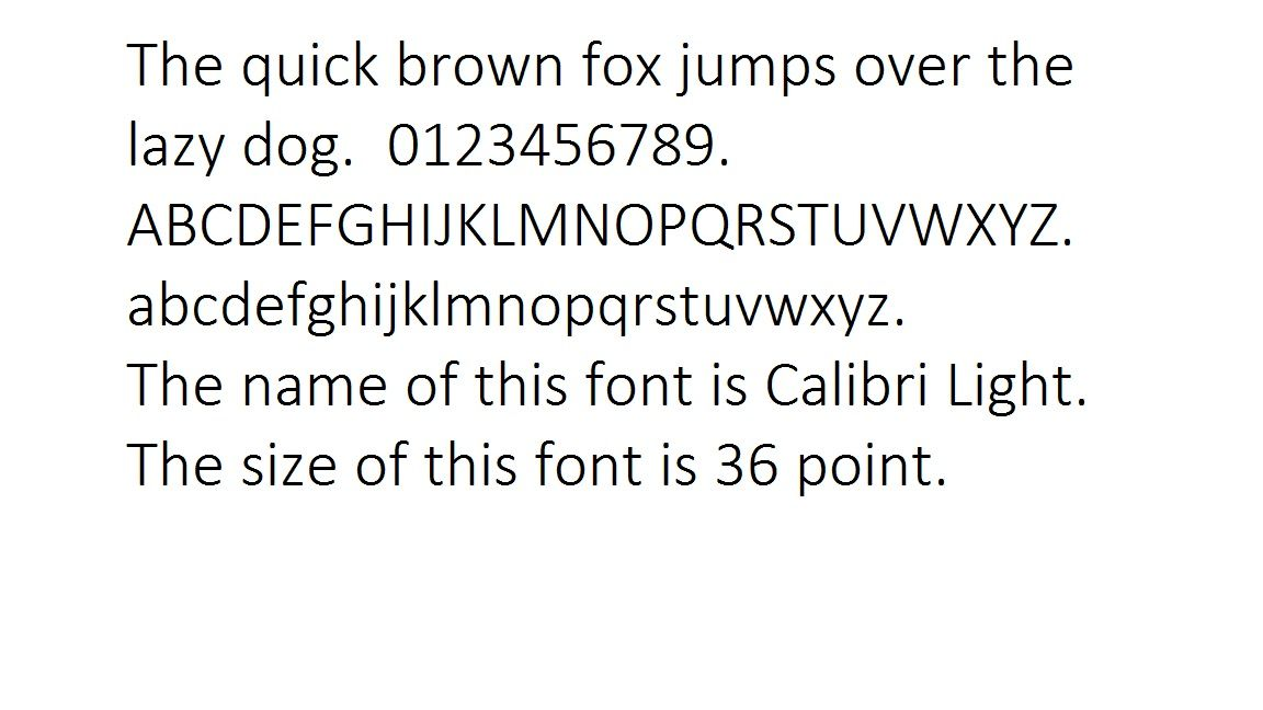 Font Calibri Light (36 Point) | Fonts | Fonts, Computer