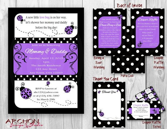 Ladybug baby shower invitation purple by archondesignstudio www ladybug baby shower invitation with polka dot back purple black and white accented lady bug printable personalized filmwisefo
