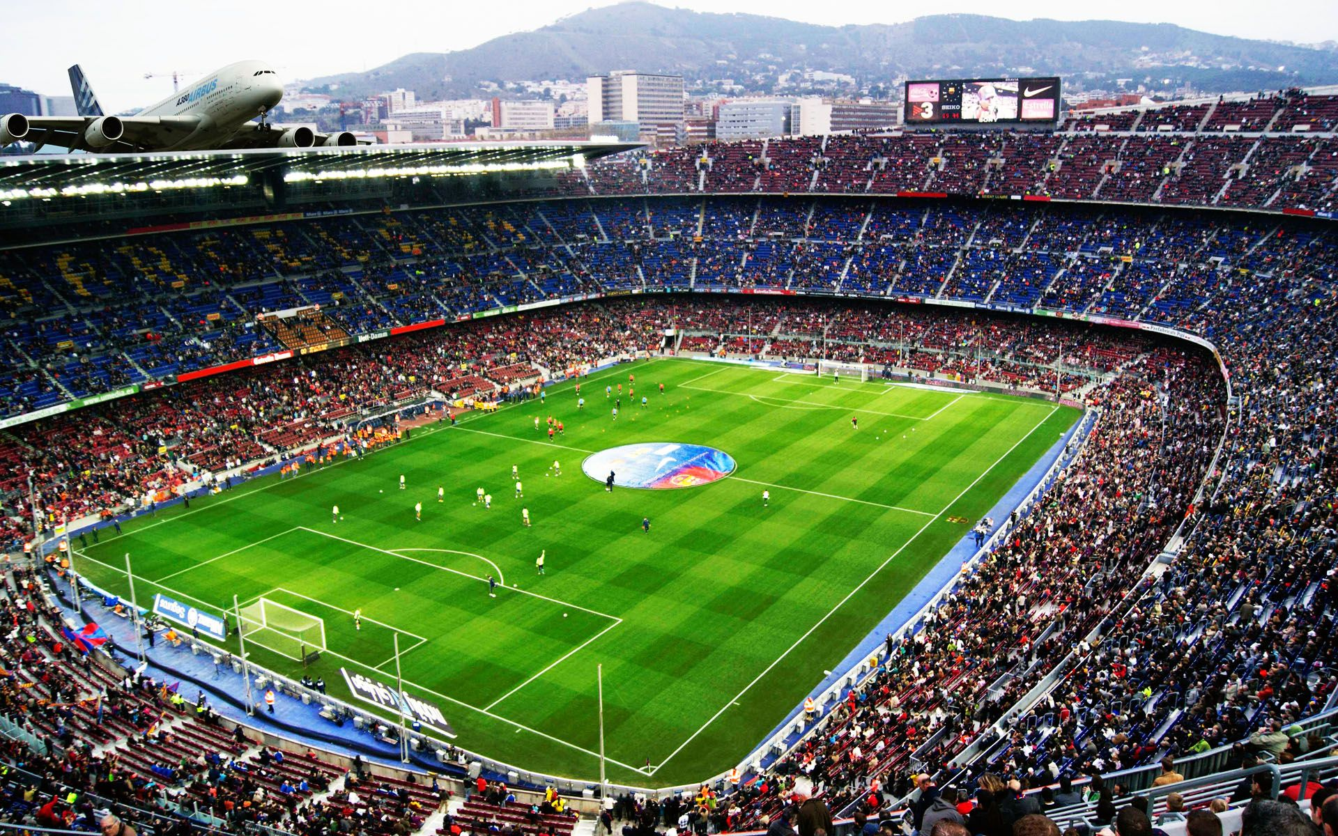 The Camp Nou seats and thus is the largest stadium in Europe