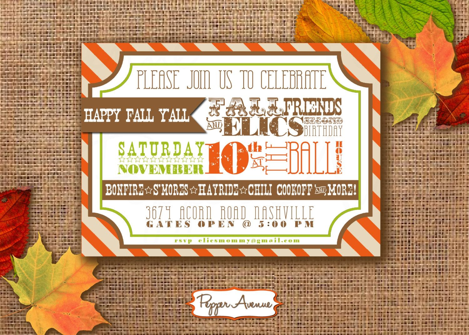Fall Festival Party Personalized Printable PDF Invitation – Fall Birthday Party Invitations