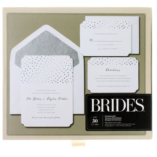 Brides Wedding Invitation Kit: Brides® Silver Glitter & Foil Dot Invitation Kit