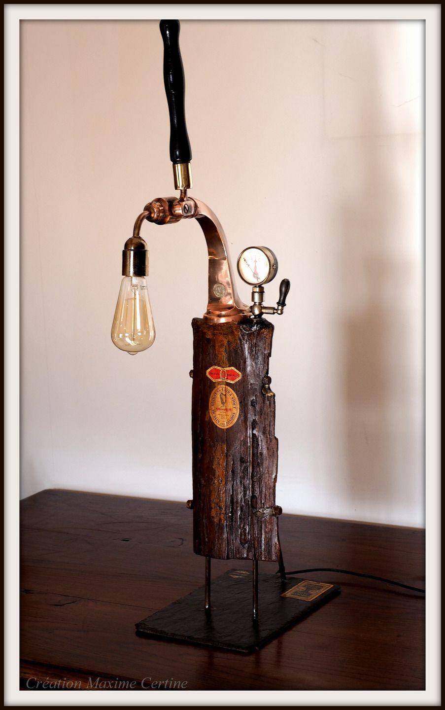 lampe artisanale guinness ancienne pompe bi re luminaires par creations maxime certine. Black Bedroom Furniture Sets. Home Design Ideas