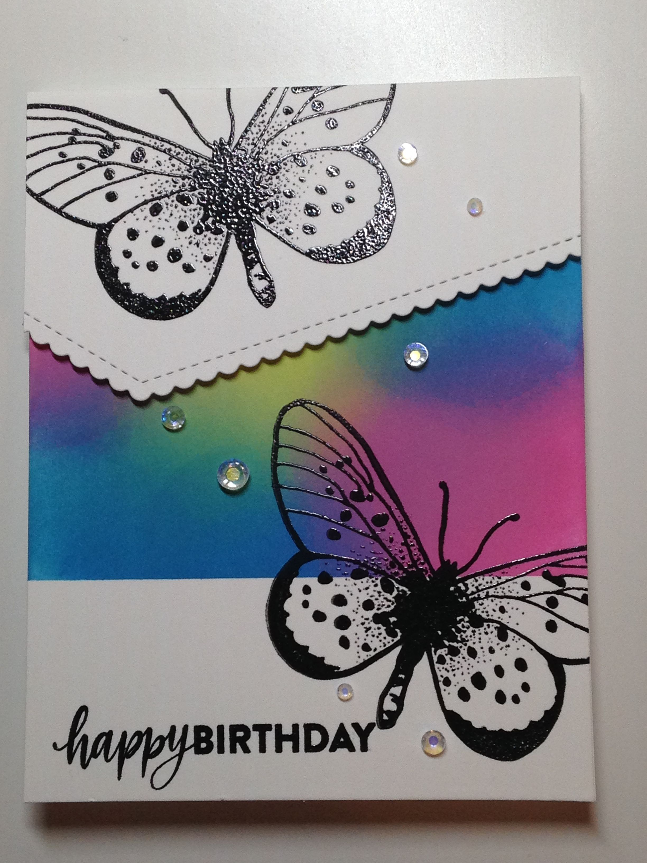 Birthday Card Stamps Art Neko Butterfly Sss Brushstroke Messages