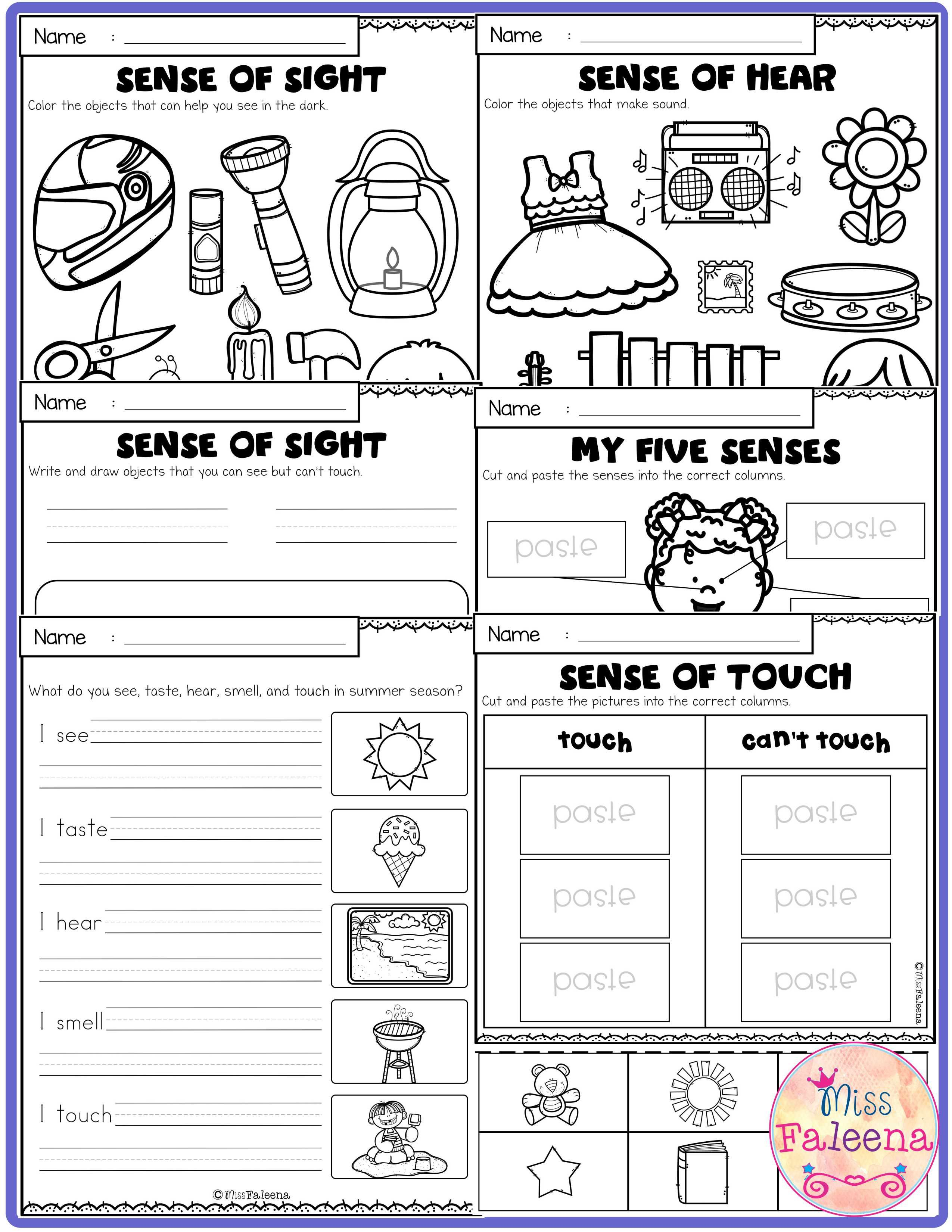 Five Senses Activities has 25 pages worksheets. These worksheets help  students with sense of sight [ 3300 x 2550 Pixel ]
