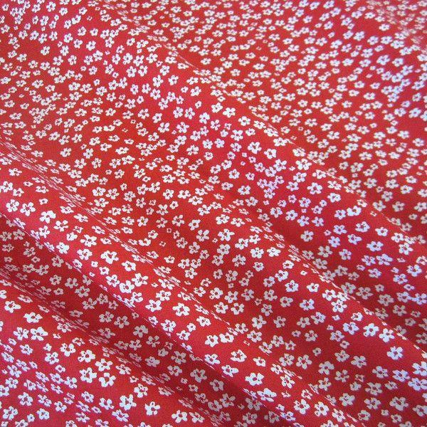 Stoff Baumwollstoff Mille Fleur Blumen Rot Weiss