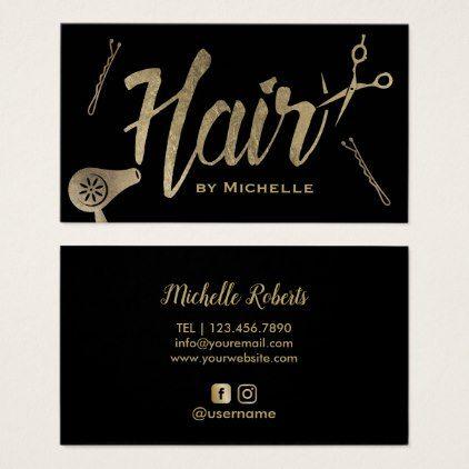 Hair Stylist Black Gold Typography Beauty Salon Business Card Zazzle Com Salon Business Cards Business Cards Beauty Beauty Salon Business Cards