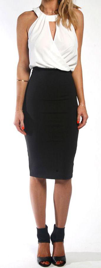 Draped Pencil Dress White Top Black Bottom Elegant Women Fashion