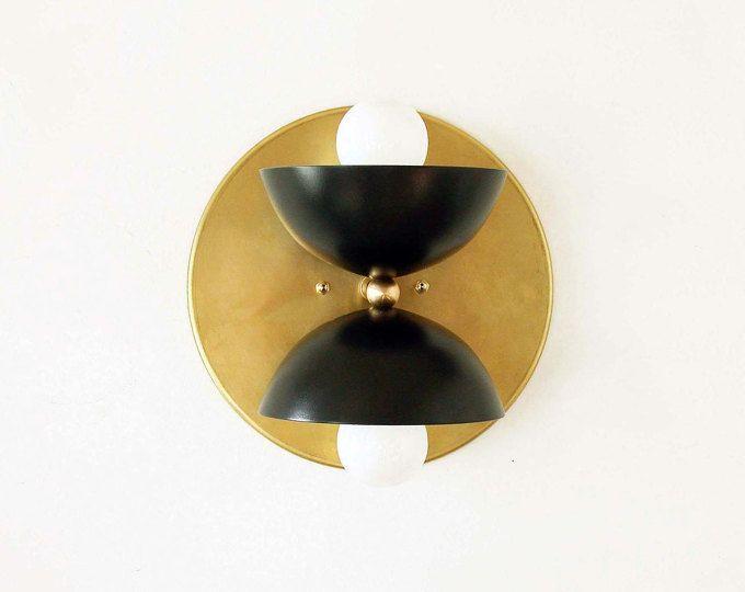 Double mur en laiton applique lampe murale luminaire chambre or et