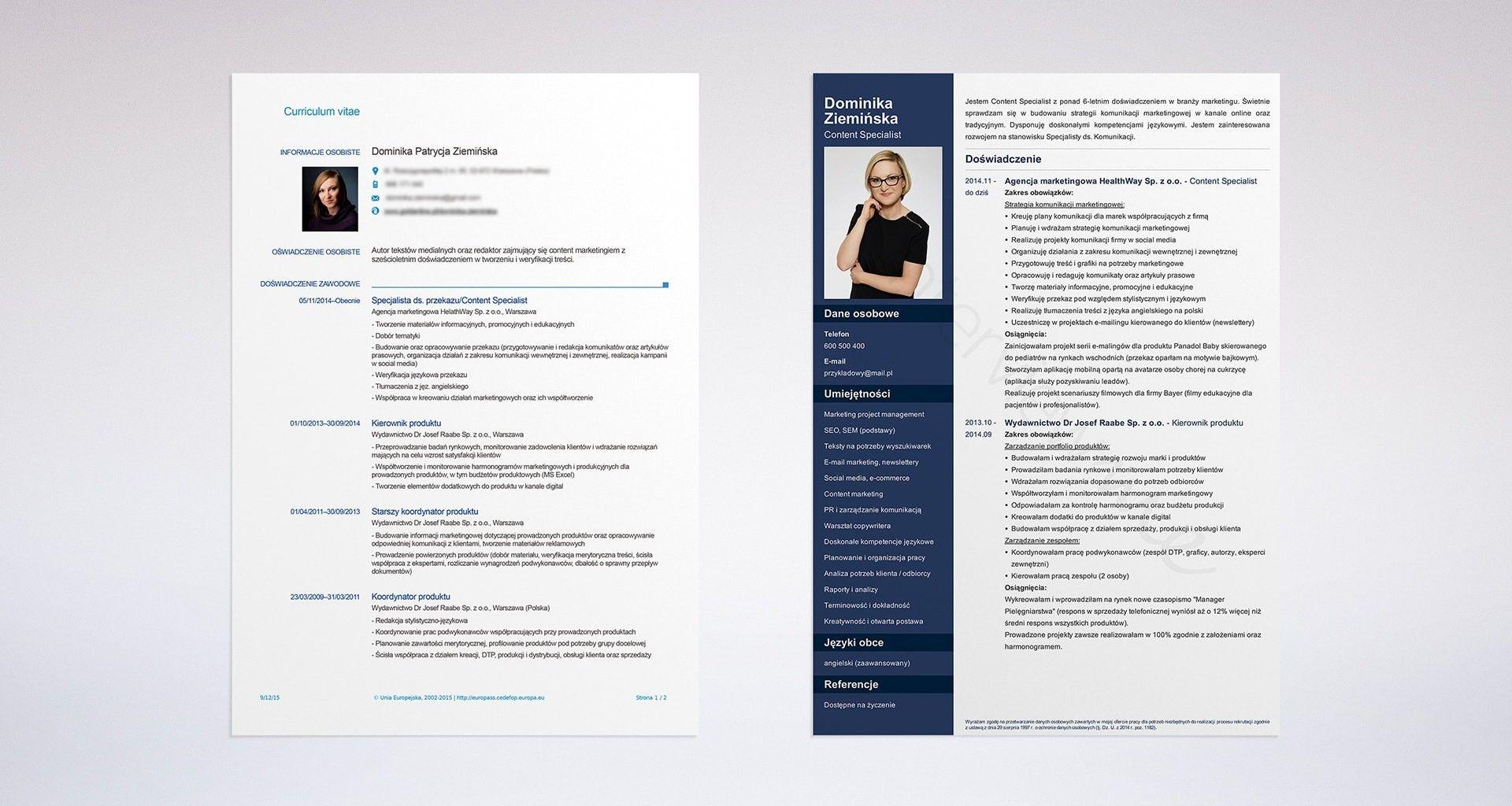 Profesjonalne CV Przykład Dominiki DESIGN Pinterest
