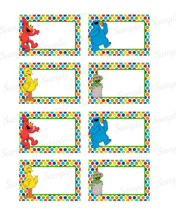 sesame street buffet tag name tag instant download elmo