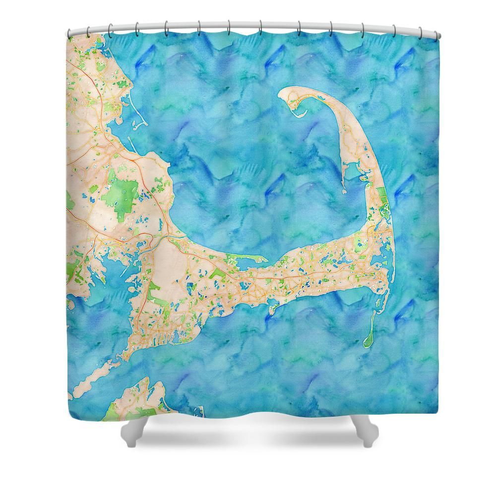 Cape Cod Watercolor Map Shower Curtain For Sale By Joy McKenzie