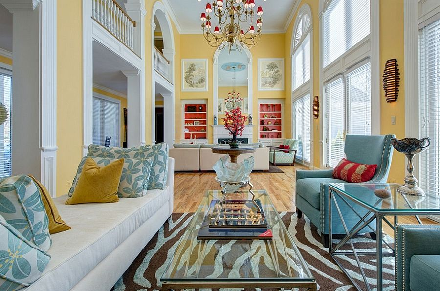 Yellow And Blue Interiors Living Rooms Bedrooms Kitchens Yellow Living Room Living Room Turquoise Eclectic Living Room #yellow #blue #living #room