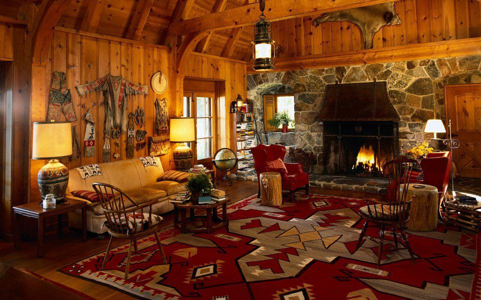 Native American Rustic Decor Cottage Fireplace Country House Decor Rustic House