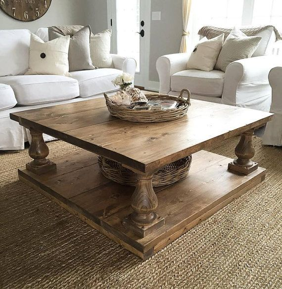 Square Rustic Baluster Wide Plank Coffee Table