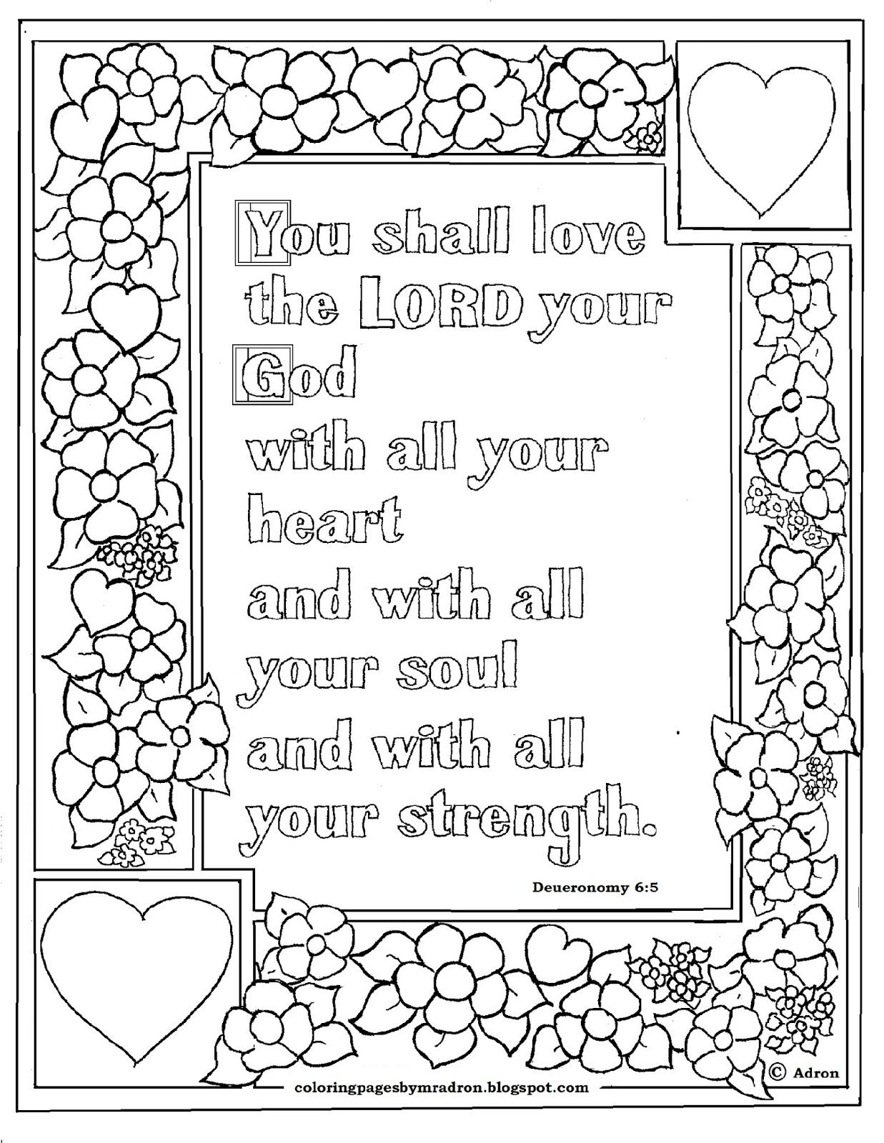 Deuteronomy 6 5 Print And Color Page Bible Verse Coloring Page