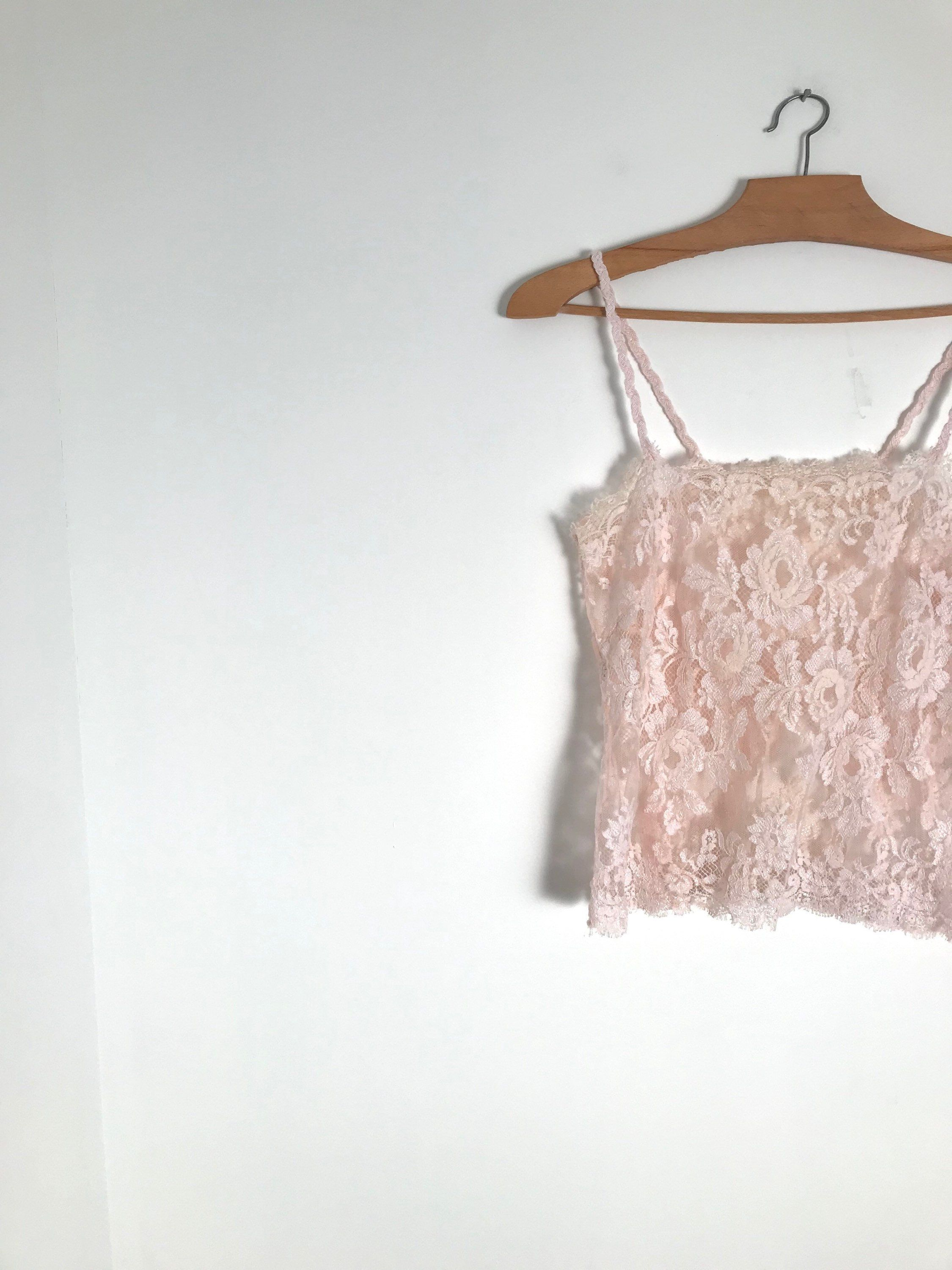 9f4cc118a2d96c Vintage blush lace camisole   distressed tank top   french sleeveless top    under garments