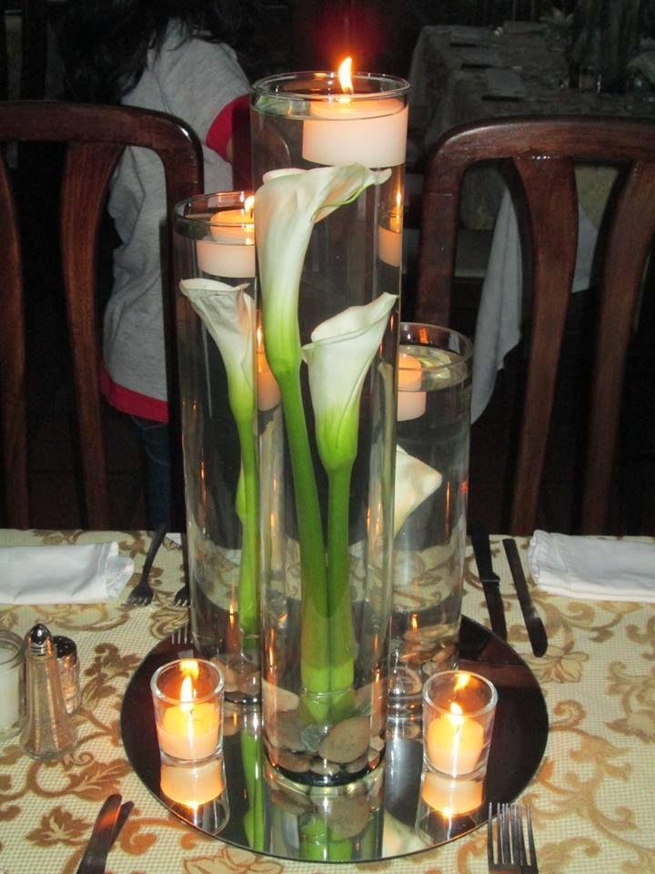Centro de mesa con cartuchos y velas centros mesa - Centros con velas ...