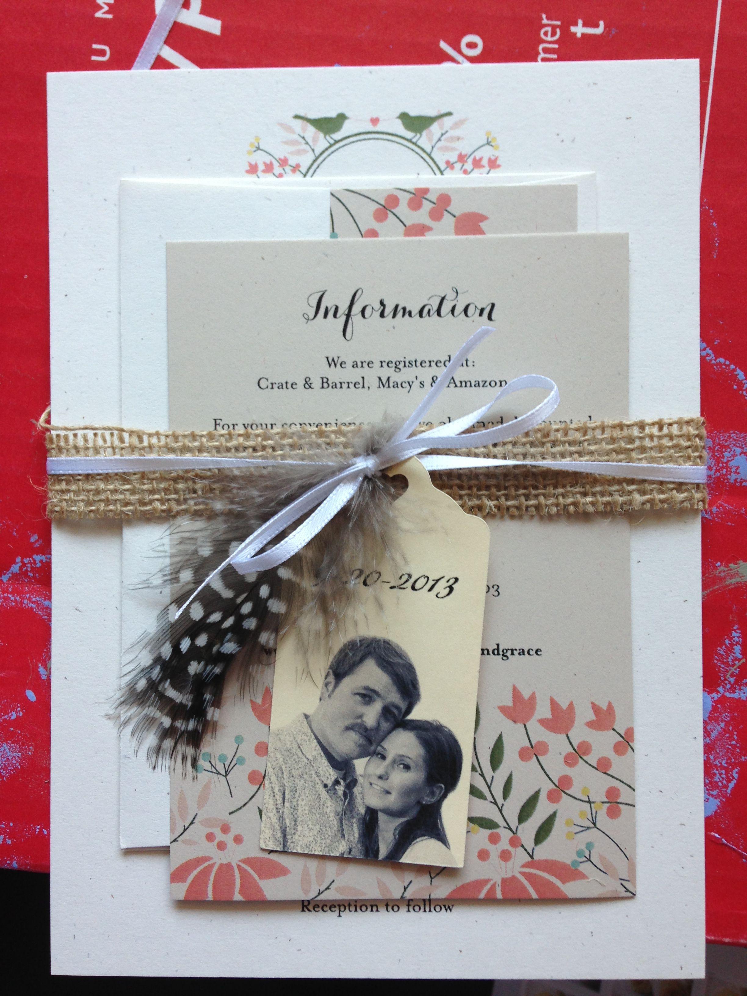 My Homemade Wedding Invitations Papergoods Pinterest Homemade