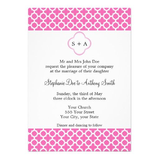 Monogram White on Hot Pink Quatrefoil Pattern Card The best buy - best of invitation cards for wedding price
