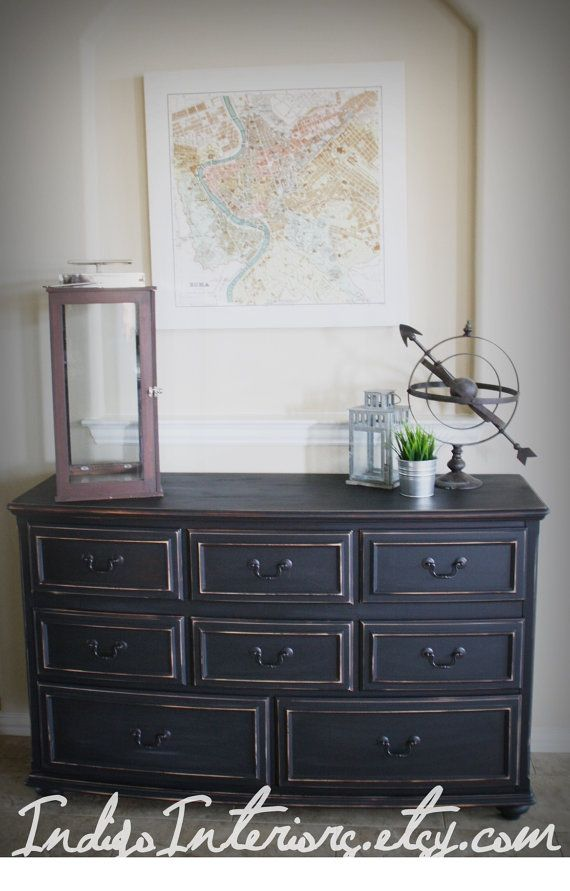 Black Pottery Barn Style Distressed Dresser Buffet Tv Stand