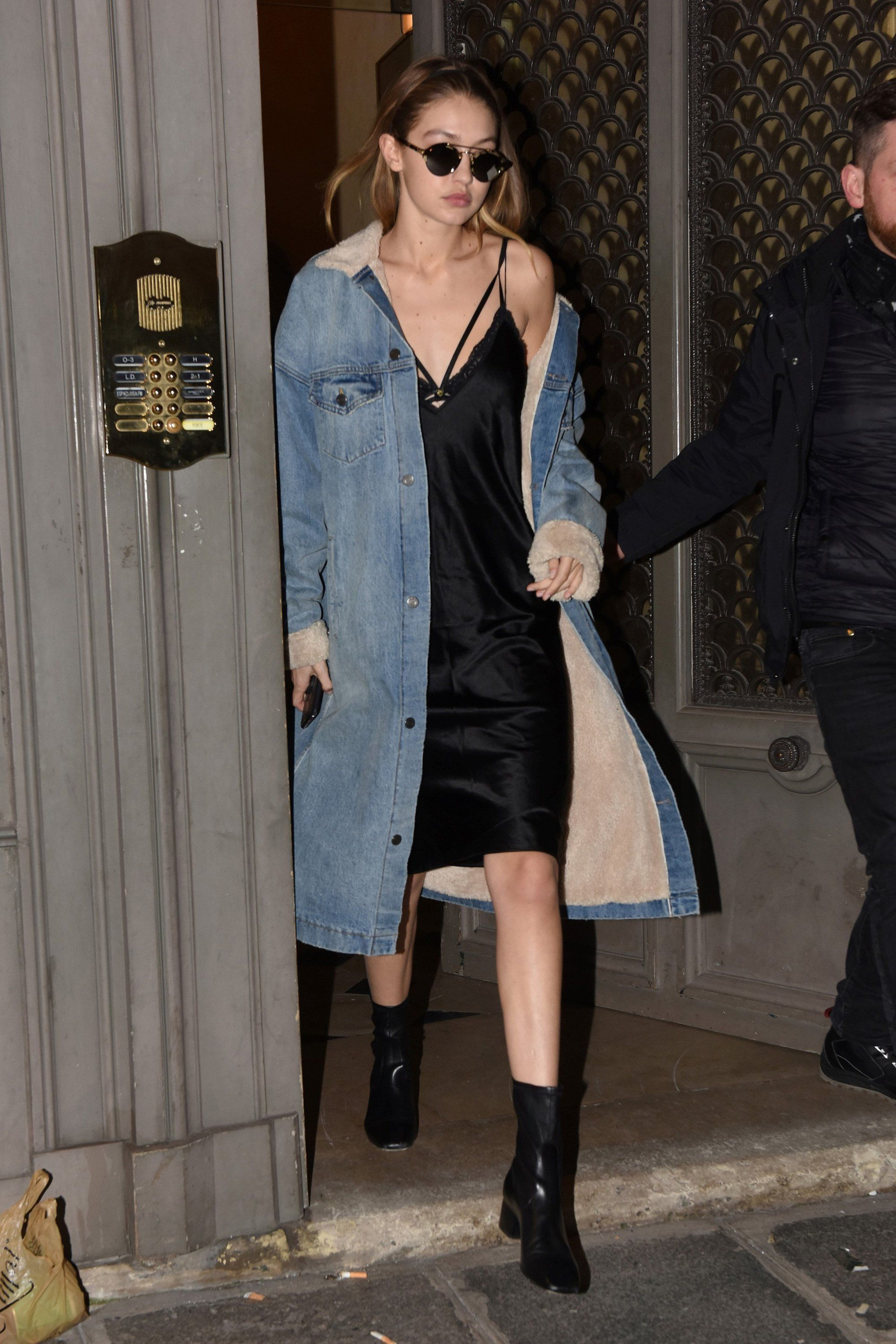 Gigi Hadid Gives The Slip Dress A Grunge Makeover In Paris Denim Jacket With Dress Fashion Street Style [ 3000 x 1999 Pixel ]