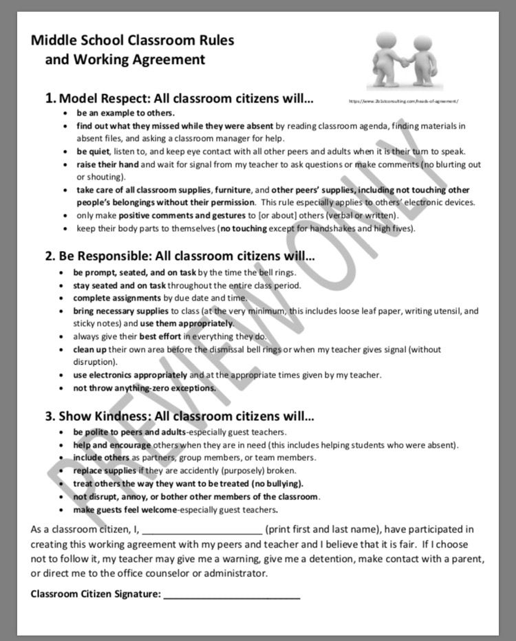 Middle school classroom rules and violation letter to parents this middle school classroom rules working agreement and violation letter platinumwayz