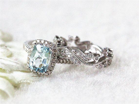 Aquamarine Engagement Ring Bridal Set Pinushion By Inourstar