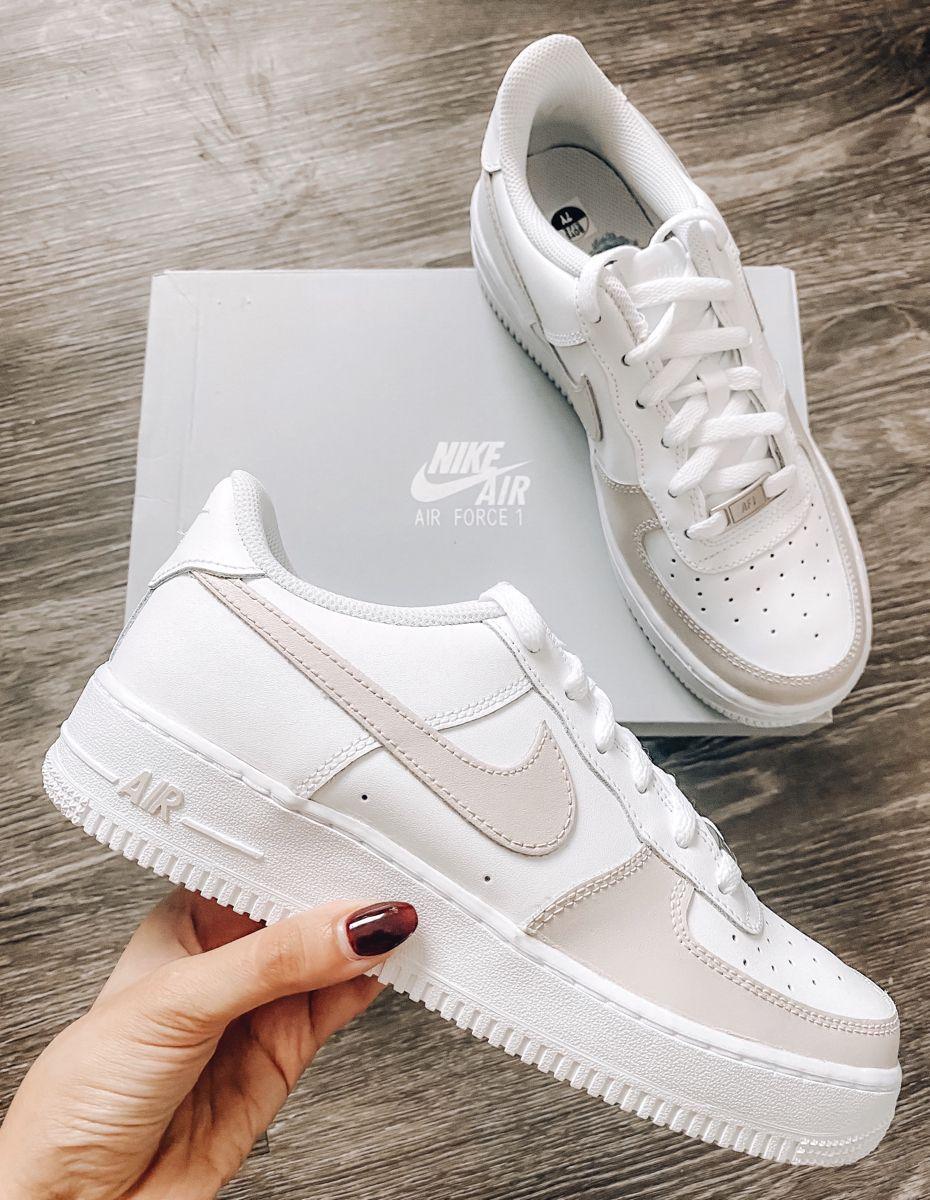 Custom Air Force 1 Beige Nike Air Force 1 Beige Sneakers | Etsy