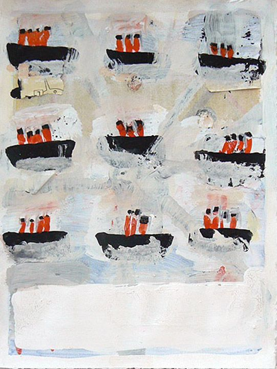 Page of Ships // Katherine Bradford // gouache on paper