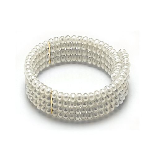 Four Row Collar Choker 6mm Pearl Necklace with Gold Plated Links