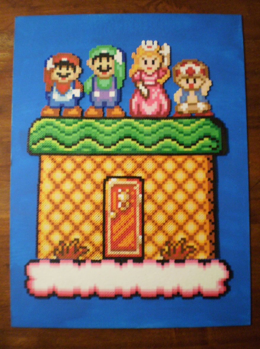Super Mario Bros 2 Cast On Canvas Nerdy Perler Beads Perler