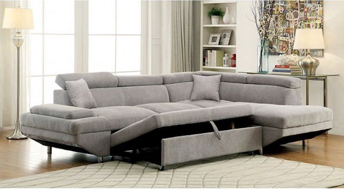 Foreman Plush Grey Sectional W Pull Out Sleeper Sectional