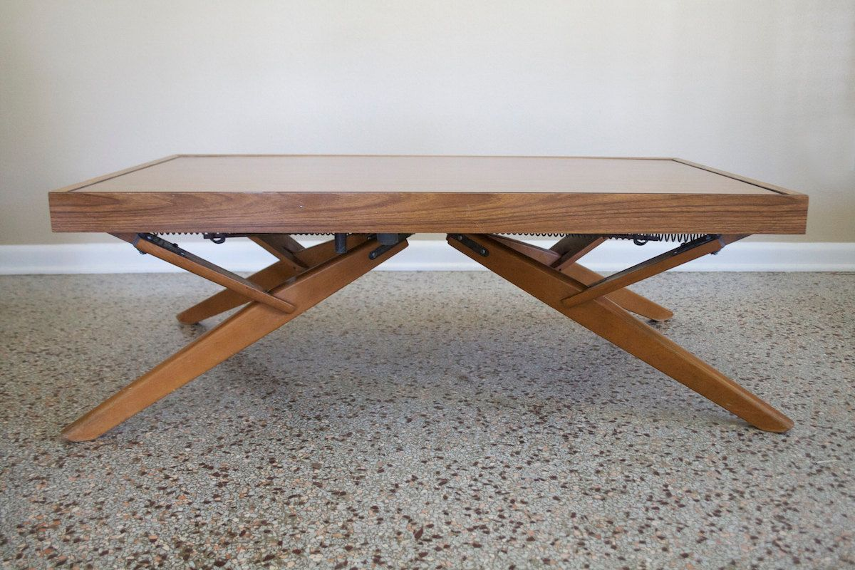 Vintage Castro Convertible Adjustable Coffee Side Dining Table Mid