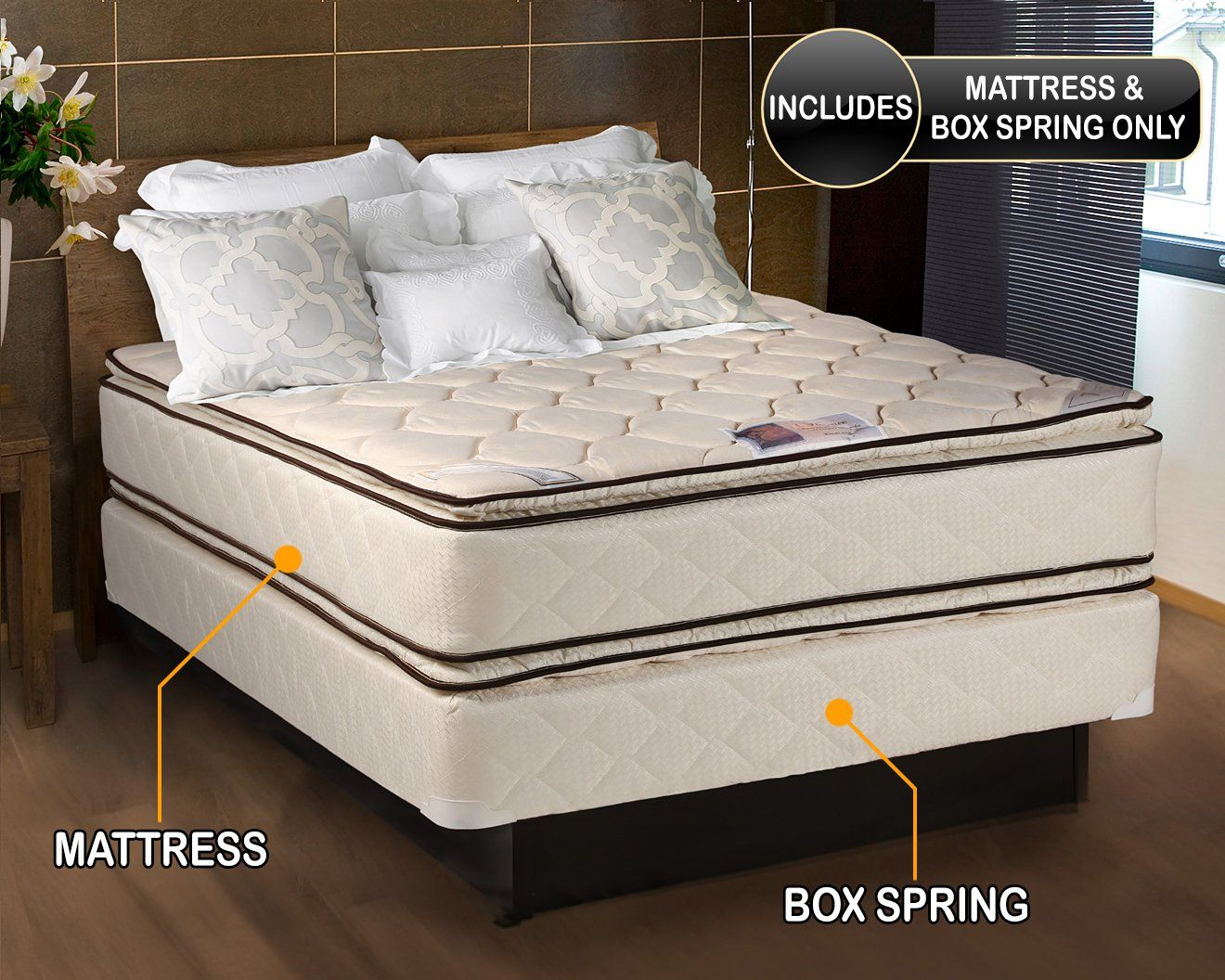 coil comfort pillow top mattress and box spring set full doublesided