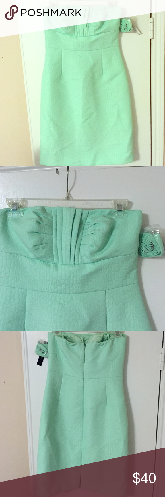 NWT Antonio Melani dress size 4 This is brand new and elegant light green ANTONIO MELANI dress, great for formal occasions. Strapless but there is an extra bag of straps to wear on as well. There is a little stain which is not noticeable at the bottom (in the last picture) due to handling, it can come off easily once cleaned. Please ask if you are interested and would like to bundle and get discounts. Thanks :) ANTONIO MELANI Dresses Midi