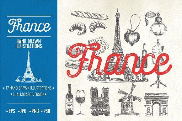 hand drawn france illustrations best food illustrations for businesses like food menu blogging