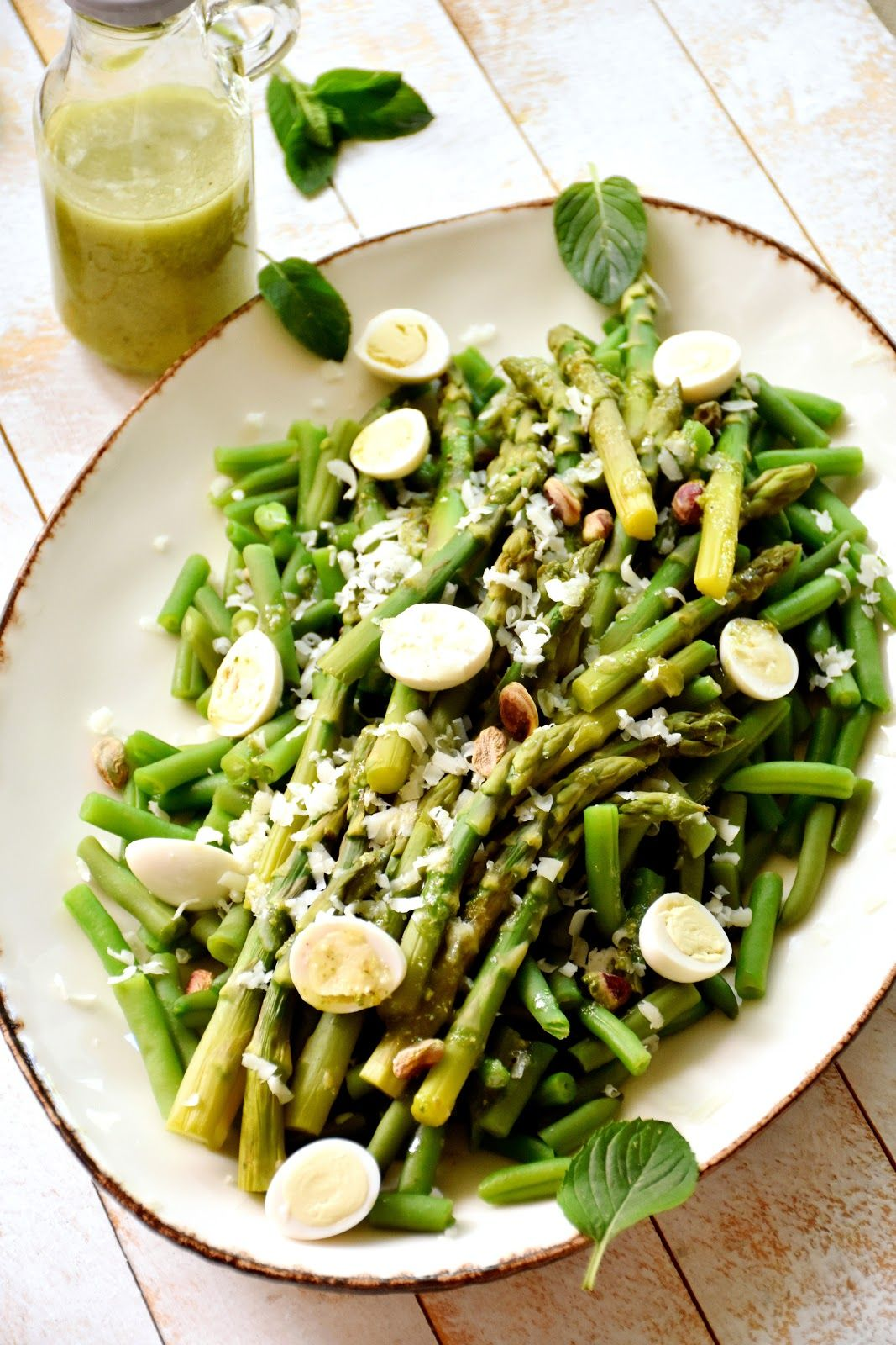 Ensalada De Judías Verdes Y Espárragos Con Pesto De Menta Chez Silvia En 2020 Ensalada De Judias Verdes Ensalada Con Esparragos Recetas Con Pesto