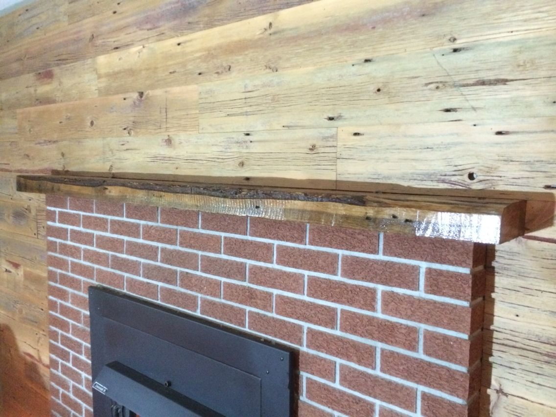 Planed Red Grey Siding Accent Wall With 3x8 Oak Live Edge