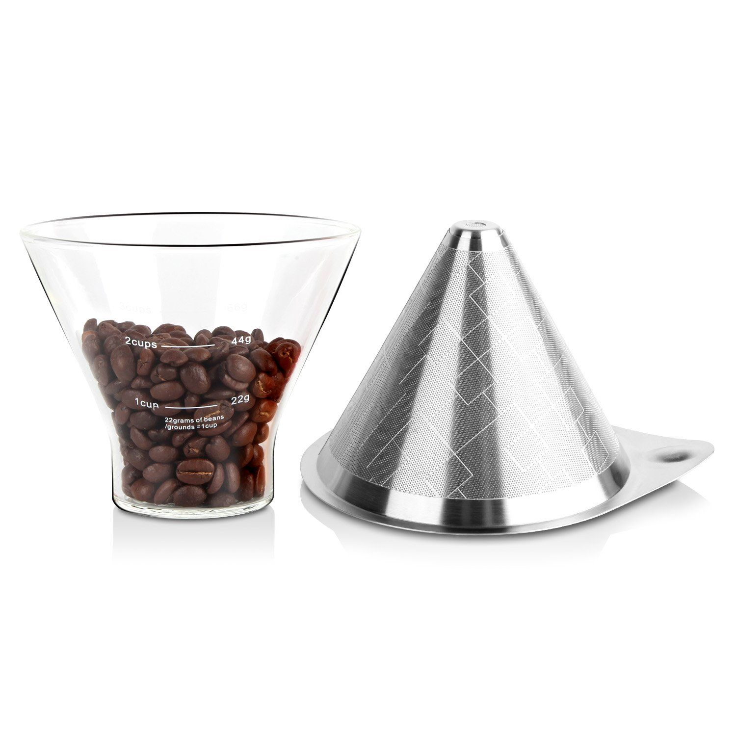 AmoVee Pour Over Coffee Maker Set Drip Cone Coffee Filter and