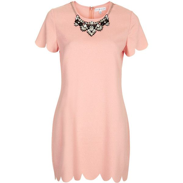 **Scallop Edge Shift Dress by Rare (31 AUD) ❤ liked on Polyvore featuring dresses, blush, scallop hem dress, pink embellished dress, pink shift dress, mini shift dress and scalloped shift dress
