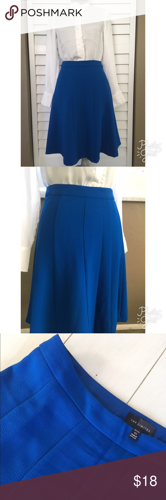 "The Limited A-Line Skirt Blue A-line skirt by The Limited. Button tab closure at the back waist. Fully lined. 98% polyester & 2% spandex - machine wash/dry per tag. Size petite XS - waist 25"" - length is 21 inches. The Limited Skirts A-Line or Full"