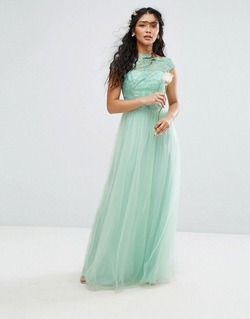 c7ec93a0caadc5 Chi Chi London Premium Lace Maxi Dress With Tulle Skirt And Cap Sleeve