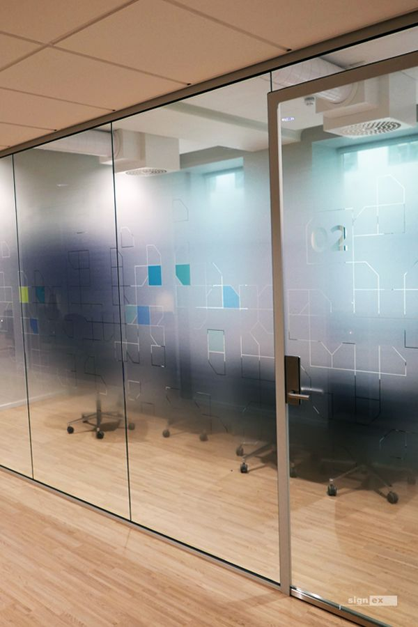 Glass Film Meeting Room With Frosted Fade And Pattern Dekor Bygninger