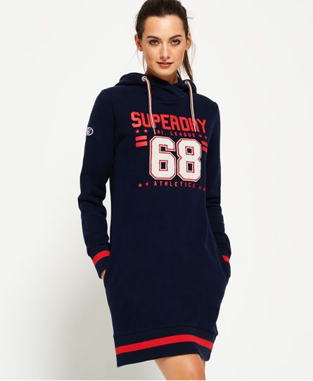 484201f68da171 Shop Superdry Womens Tri League Slouch Hood Dress in Tri Navy. Buy now with  free delivery from the Official Superdry Store.