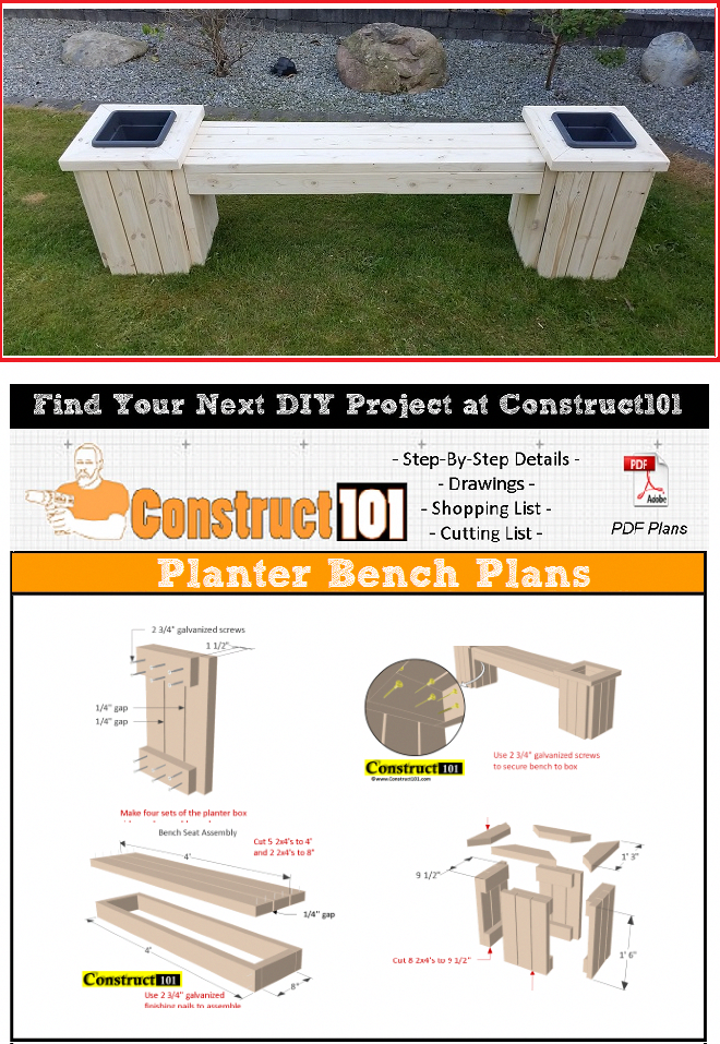 Planter Bench Plans This Planter Bench Is Built Using 2x4 S Free Pdf Download Material List And Drawings P