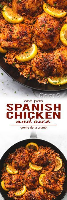 One Pan Spanish Chicken and Rice | Creme De La Crumb