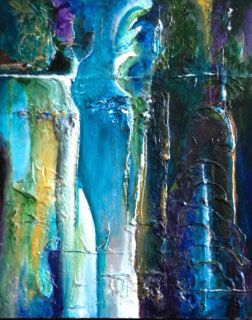 """""""Grand Turk"""", abstract in mixed media and acrylic. Vibrant colors on actual texture providing depth and strong visual interest."""