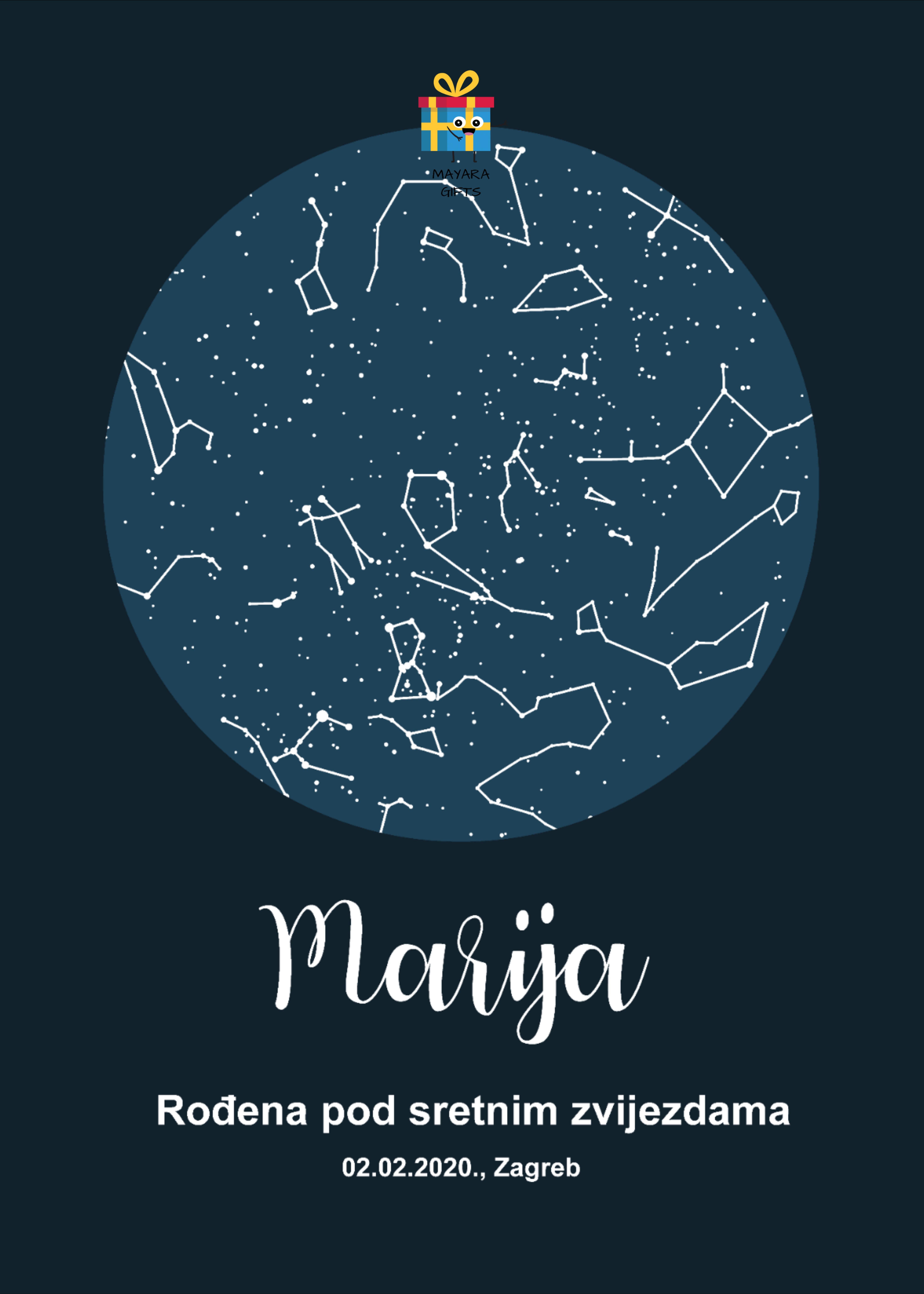 Zvjezdana Karta Personalizirani Poklon Za Rođendane Godisnjice Veze I Braka Zaruke I Slicno Location Gifts Astronomy Gift Starry Sky