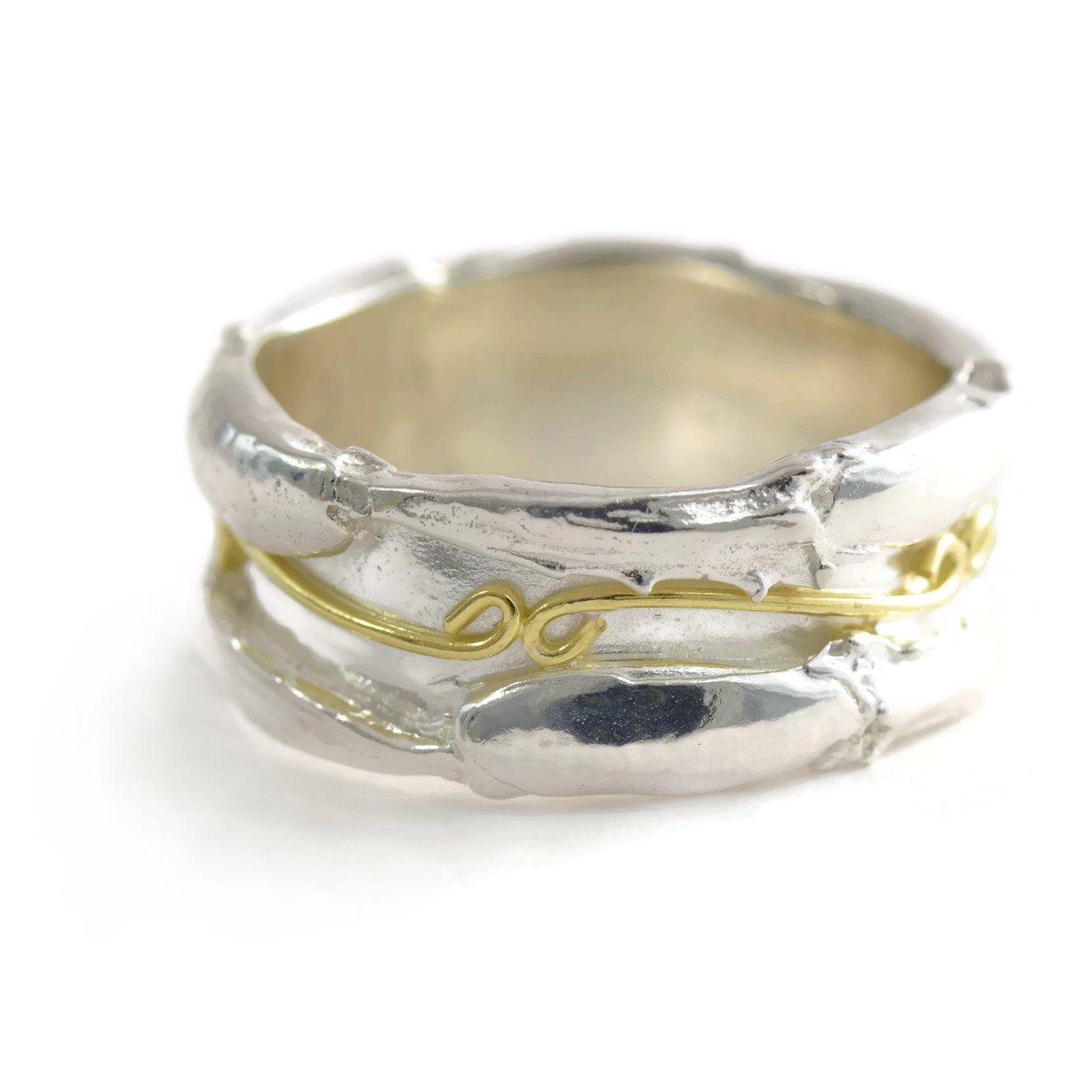 Sterling Silver Wedding Band - 18ct Gold Wedding Ring - Custom ...