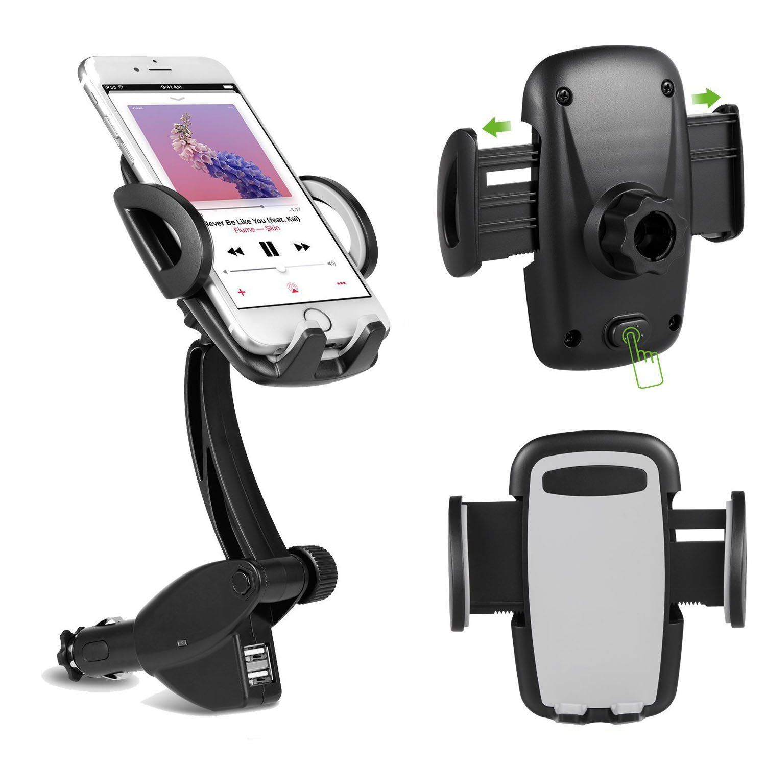 3 in 1 Universal Car Mount Charger Holder 360 Degree Rotating Goose neck with Dual USB 3 1A Car Charger for iPhone 7 7 Plus 6 6S 6 6S Plus